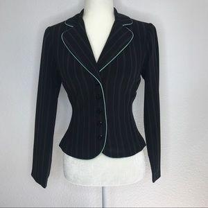 My Michelle Womens Sz 3/4 Blazer Pinstripe Mint